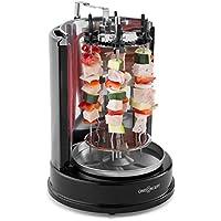 oneConcept Twist & Grill • Dönergrill • Kebap-Grill • Rotisseriegrill • Vertikalgrill • Elektro-/ Tischgrill für zu hause • max. Leistung: 1400 Watt • 360° Hitzeverteilung • Spieß-Set • silber