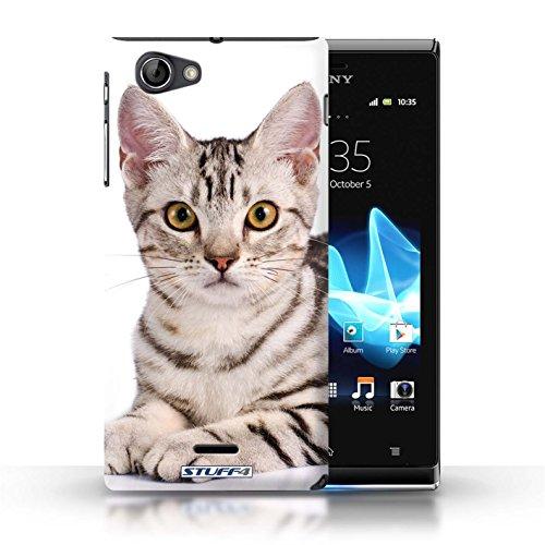 Kobalt® Imprimé Etui / Coque pour Sony Xperia J (ST26i) / Sibérien conception / Série Espèces de chats American Shorthair
