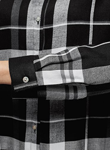 oodji Ultra Damen Viskose-Bluse mit Druck Schwarz (2910C)