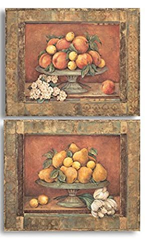 Gango Home Decor Florentine Peach & Pear; Two 14x11in Classic Fruit Bowl Still Life Poster Prints