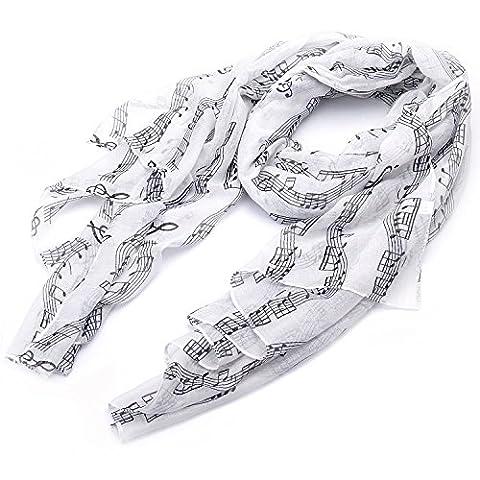 lureme®Musik Notendruck Mode leichten langen Schal (01003407) (Weiß)