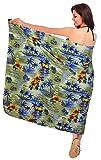 LA LEELA weich likre Hawaii Blumenbikini Sarong Wickelrock Kleid 72x42inch beige