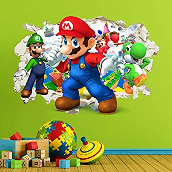 Super Mario Gang Crack Poster Wallpaper Kids Bedroom Decal Vinyl Sticker Art