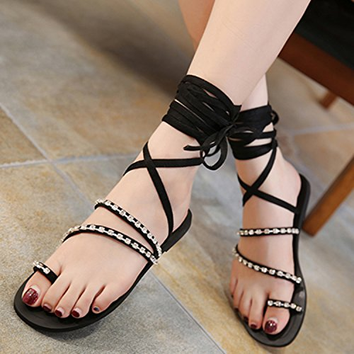 Azbro Women's Open Toe Rhinestone Flat Thong Gladiator Sandals Black