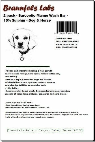 - Sarcoptic Mange Wash Bar - 10% Sulphur - Dog & Horse Shampoo by Braunfels Labs -