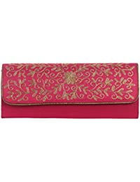 Mela Partywear Golden Embroidered Clutches For Women - Magenta (Size Large)