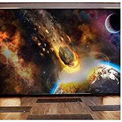WANGZXC Wandbild Wallpaper 3D Universum Erde Komet Meteorit Tapete Dekoration Tapete Wandbild