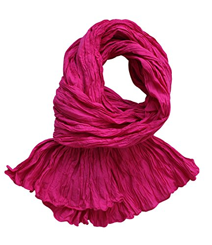 Chèche foulard en coton de qualité supérieure froissé rose fuchsia