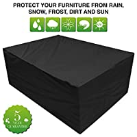 Oxbridge Black Large Patio Set/Oval/Rectangle Table Cover Garden Outdoor Furniture Cover 2.8m x 2.06m x 1.08m/9.2ft x 6.75ft x 3.5ft 5 YEAR GUARANTEE