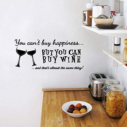 You Cant Buy Happiness But You Can Buy Wine Vinyl Wall Art Quotes Sticker Home Kitchen/Bar Wall Decals Decorative red 40cmx18cm