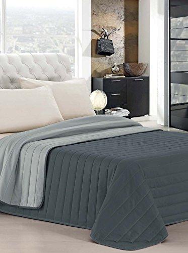 Italian bed linen elegant trapuntino matrimoniale 2 posti, grigio chiaro/grigio scuro, 260 x 270 cm