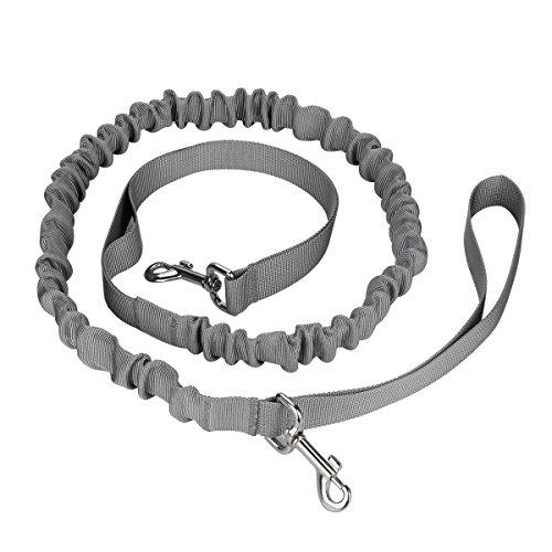 Cadrim Hunde Joggingleine mit verstellbarem Hüftgurt,elastische Bungee Leine zum handfreien Laufen/Fahrrad fahren,zusätzliche Tasche für Handy und Schlüssel etc. super zum Laufen, Joggen, Wandern und Markteinkauf,Schwarz/Weiß (Grau) - 4