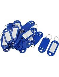 SODIAL(R) 20 Pcs Mots cles ID etiquettes anneau fendu Porte-cles Chaine de cle Bleu