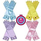 Casibecks Prinzessin Verkleiden Sich Handschuhe Set 4 Stück für ELSA Belle Aurora Sofia Cinderella kostüm (Blau, Gelb, lila und Rosa)