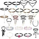 MingJun 23pcs schwarze Samt Multilayer lange Lace-up bunte Choker Halskette Set Leder Stretch einstellbare Anhänger Halskette für Frauen Mädchen