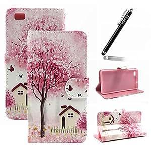 Ukayfe Custodia portafoglio / wallet / libro in pelle per Huawei P8 Lite - Cover elegante e di alta qualità con porta carte di credito e banconote Stampa creativa Con Stilo Penna - Rosa fiori di ciliegio mondo