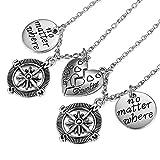 JewelryWe Joyería Colgante de Corazón Partido, Collares de La Amistad