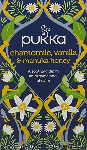 Pukka Chamomile, Vanilla & Manuka Herbal Tea Bags - Organic & Fair Chamomile Flower, Vanilla Pods and Manuka Honey - Naturally Caffeine Free (Pack of 4)