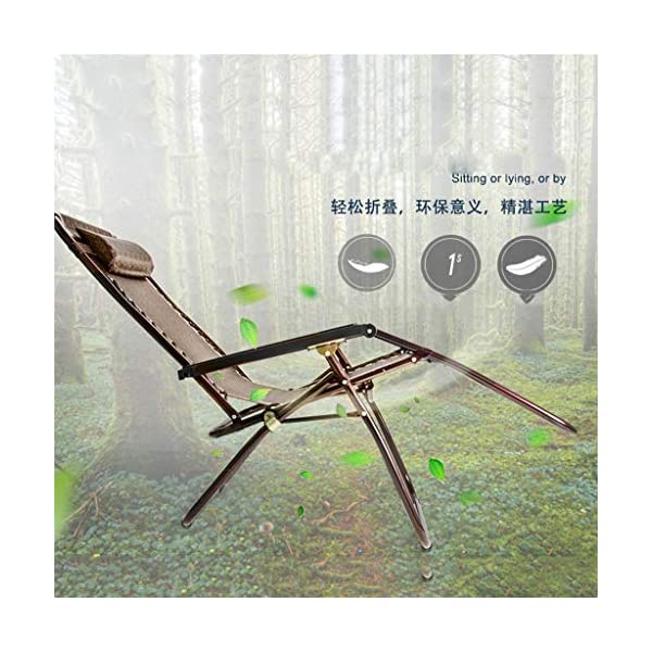 MRZZ Folding Chair,Office Lunch Nap Beach Chair Multi-function Recliner Escort Chair Reclining Garden Sun Lounger Chairs (Color : Brown)  It is incredibly comfortable, durable and folds down flat for easy storage Detachable and adjustable,Easy to install. Applicable Office lunch break, balcony small raft, outing camping, beach trip, hospital companionship or just relaxing in the garden. 3