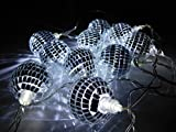 Christmas Concepts® 10 weiße LED-Disco-Spiegel-Ball Lights - 2 Meter Länge