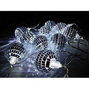 10 White LED Disco Mirror Ball Lights - 2 Metre Length - Mains Operated - Retro - Party/Garden ...