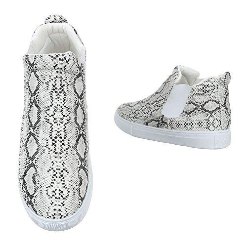 High-Top Sneaker Damenschuhe Komfort Ital-Design Freizeitschuhe Grau