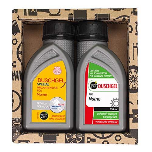 Lustapotheke® Geschenkset für KfZ Mechaniker oder Hobby Schrauber - 2x Duschgel für Männer im Motoröl-Design 3 - Personalisiert mit Namen
