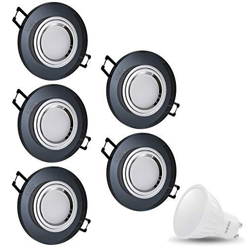 X Cristal Black redondo 230V LED SMD 7W blanco cálido techo foco...
