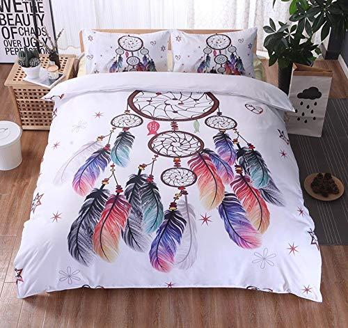 Fcao-Bettwäsche, Weiß Dreamcatcher Bettbezug Mit Kissenbezügen Bettwäschesatz Tröster König Bohemian Print Bettwäsche König Bunte Federn 3D Bettbezug (Size : UK Double) -