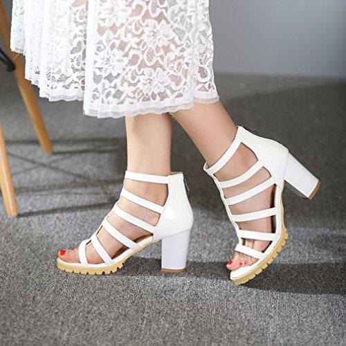 YE Damen T-spangen Offen Römersandalen high heels Blockabsatz Sandalen mit Reißverschluss Gladiator Modern Schuhe Weiß