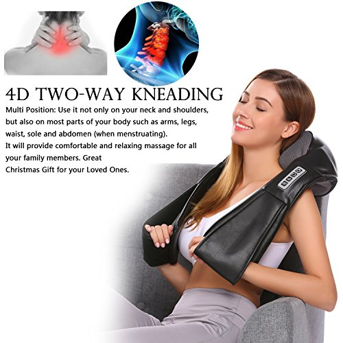 Shiatsu-nacken-massagegerät ([ Beste Ideen für Valentinstag 2018 !!! ] Guisee 3D Nacken- und Schulter-Massagegerät 16 Tief knetbälle Shiatsu-Massagekissen mit Wärme, Einstellbare Intensität für Rücken, Beine, Füße und Bauch)
