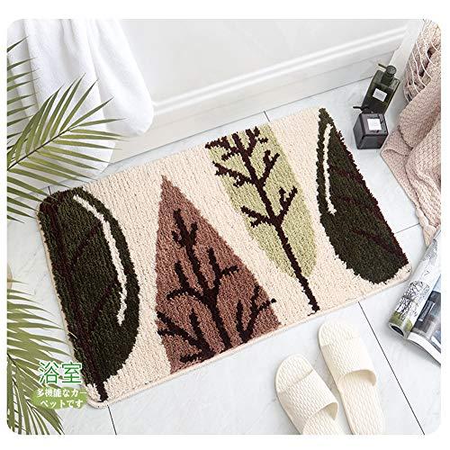 Hochflor Shaggy Schmutzfangmatte Anti-Rutsch Teppich Morbuy Bequeme Badematte Badezimmer-Teppich Super saugfähiger weicher Duschteppich (50 * 80cm, Wald)
