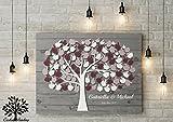70x50 cm, 3D -Apfelbaum Holzoptik Leinwanddruck-Gästebuch, Hochzeitsbaum, Wedding Tree, Rustikales Gästebuch, Leinwanddruck - Baum, Keilrahmen und Holz Motiv