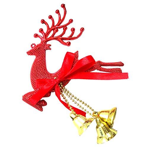 ekoration Rentier Ornamente Weihnachten hängen Anhänger Dekoration Geschenke für Weihnachtsbaum, Fenster, Wand, Zimmer - Rot, 26,5 x 13 cm (Rentier Weihnachten Ornamente)