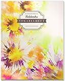 DÉKOKIND Vokabelheft   DIN A4, 84 Seiten, 2 Spalten, Register, Vintage Softcover   Dickes Vokabelbuch   Motiv: Blumen Kunst