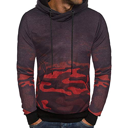 OSYARD Herren Camouflage Fleece Kapuzenpullover Hoodie, Langarm Camouflage Hoodie Kapuzen Sweatshirt Top Tee Outwear Bluse Pullover (L, Rot )