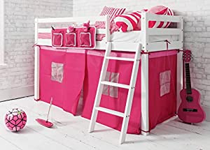 Shorty Cabin Bed with Pink Tent,Midsleeper Ontario in White