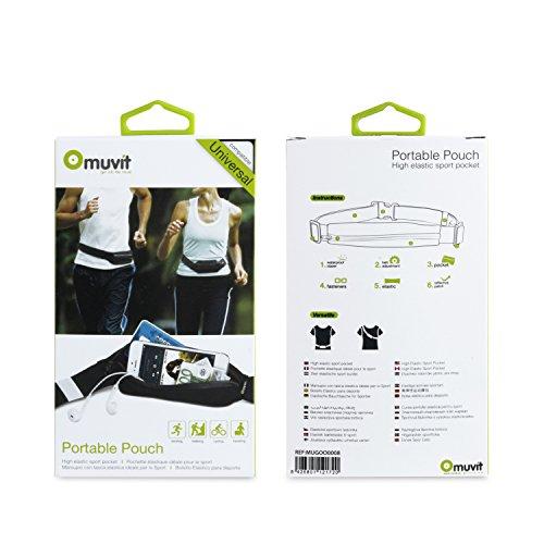 Muvit MUGOO0008 - Cinturón elástico universal con bolsillo impermeable, color negro