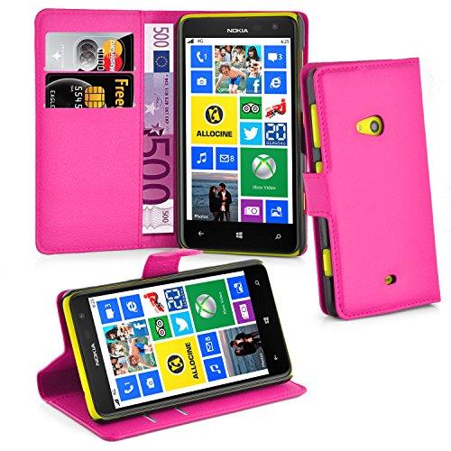 Preisvergleich Produktbild Cadorabo Hülle für Nokia Lumia 625 Hülle in Cherry Pink Handyhülle mit Kartenfach und Standfunktion Case Cover Schutzhülle Etui Tasche Book Klapp Style Cherry-Pink