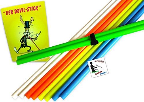 Handstäbe Beat für Devilstick Set: Trick-Lernfibel, Stripe und Sticker (Blau)