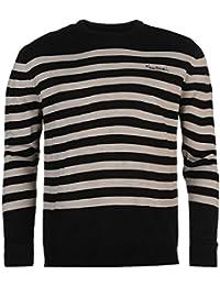 Pierre Cardin à rayures en tricot Pull pour homme Noir Pull Top