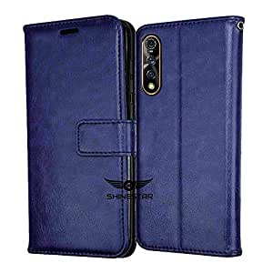 SHINESTAR PU Leather Flip Wallet Case with TPU Shockproof Cover for Vivo Z1x (Blue, Vivo Z1x)