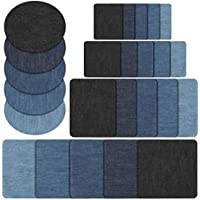 Naler Patchs de 25 pièces à Repasser dans 5 Couleurs Coton Iron-on Patch Patchs Denim Patches Jeans Kit de réparation Set Patches thermocollants (5 Taille)