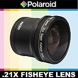 Polaroid serie Studio .21x Super Lente Ojo de Pez con macro objetivo, incluye bolsa y–Tapas para objetivo S for the Olympus Evolt E-30, E-300, E-330, E-410, E-420, E-450, SDe 500, E-510, E-520, E-600, E-620, E-1, E-3, de 5Digital SLR Cameras which Have Any of These (14–54mm, 50–200mm) Olympus Lenses