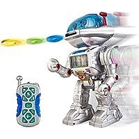 GBL® Robot teledirigido - El robot controlado por radio: camina, desliza, gira, baila, lanza discos voladores con sonidos y luces