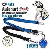 O³ Pets Autogurt Hunde // 2 Stück // Anschnallgurt mit Stecker fürs Gurtschloss // längenverstellbarer Gurt mit elastischem Ruckdämpfer