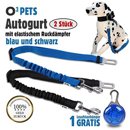 O³ Pets Autogurt Hunde // 2 Stück // Anschnallgurt mit Stecker fürs Gurtschloss // längenverstellbarer Gurt mit elastischem Ruckdämpfer -