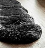 Extra großes Schafslammfell, Schwarz, Doppel-Lammfell Teppich