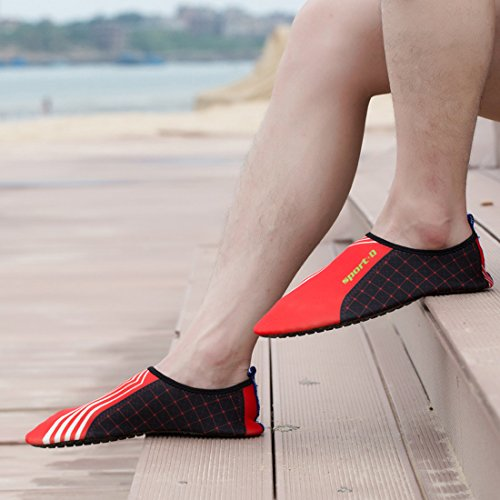 DorkasDE Unisex Strandschuhe Aquaschuhe Aqua Schuhe Atmungsaktiv Schwimmschuhe Surfschuhe Wasserschuhe Badeschuhe für Damen Herren Kinder Orange