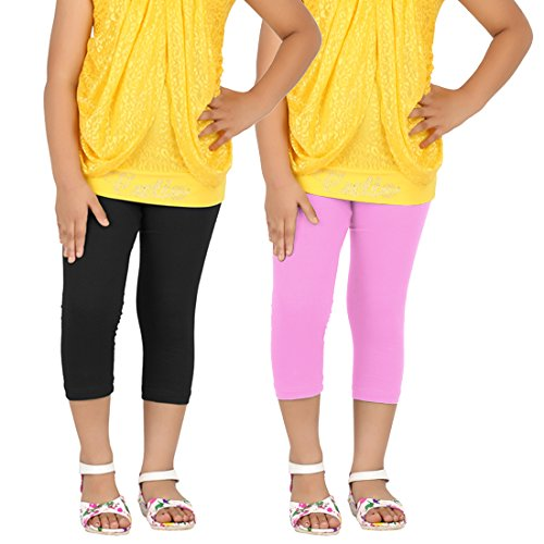 Goodtry Girls Cotton Capri Pack of 2-Black-Light PinkGTKC-018-BLK-LPNK-5-6Y  available at amazon for Rs.349